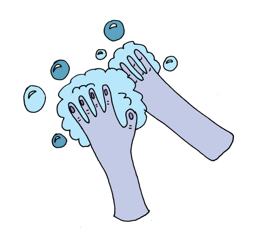 wash your hand illustration by Lila Volkas N.C.